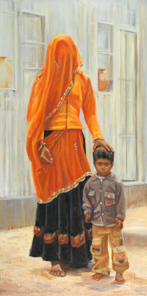 Orange Sari by Sandy Sheagren