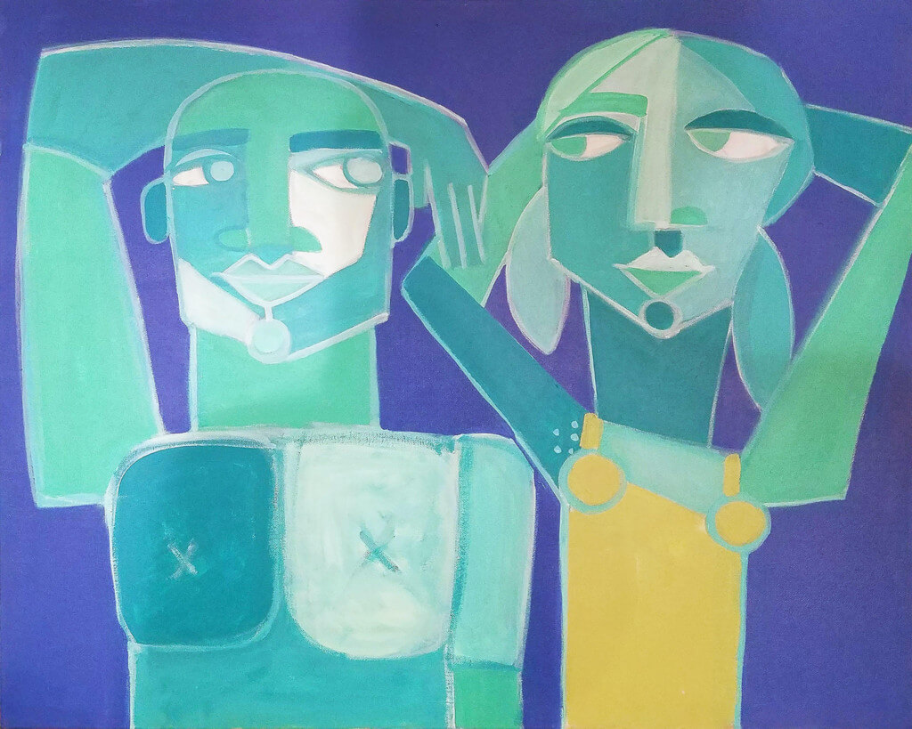 Anne Leuck man and woman greens purple