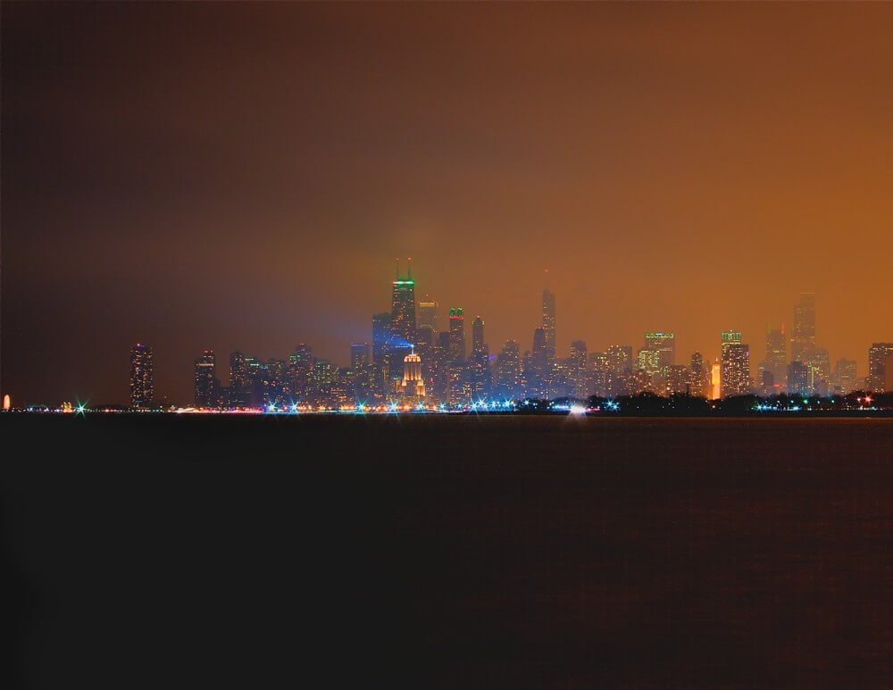 Christmas In Chicago Skyline.Chicago Skyline At Night By Brian Kabat Glenview Art League