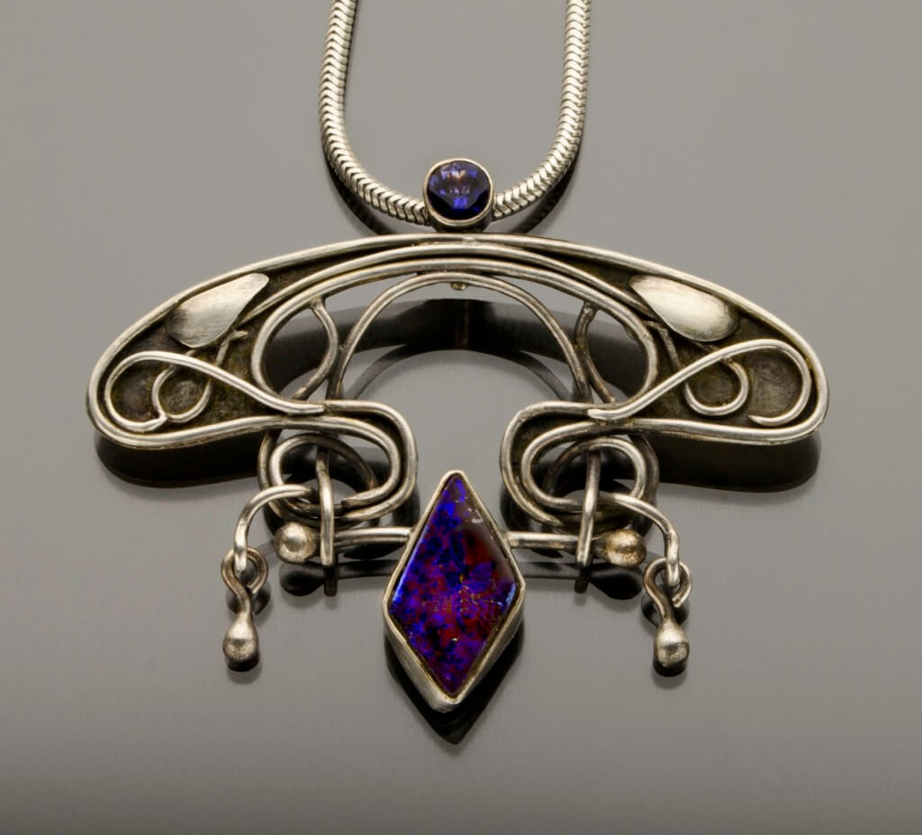 opal and iolige art nouveau purple pendant